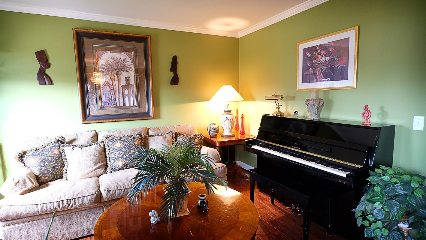 Green room with piano - Residential painting by Nash Painting Nashville TN
