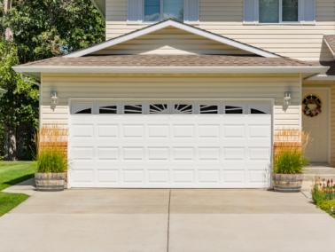 White garage door.