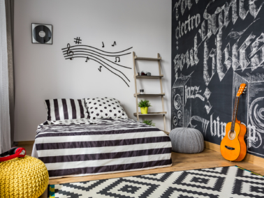 Bedroom with music decorations.